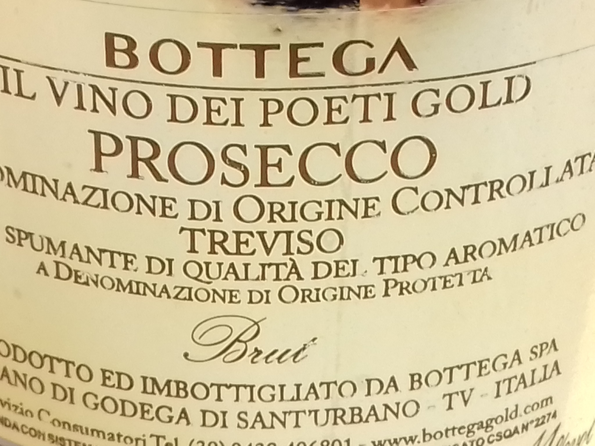 Label Bottega Gold Prosecco
